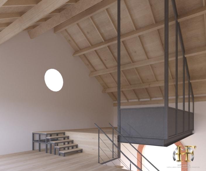 escalier en métal avec mezzanine moderne en fer