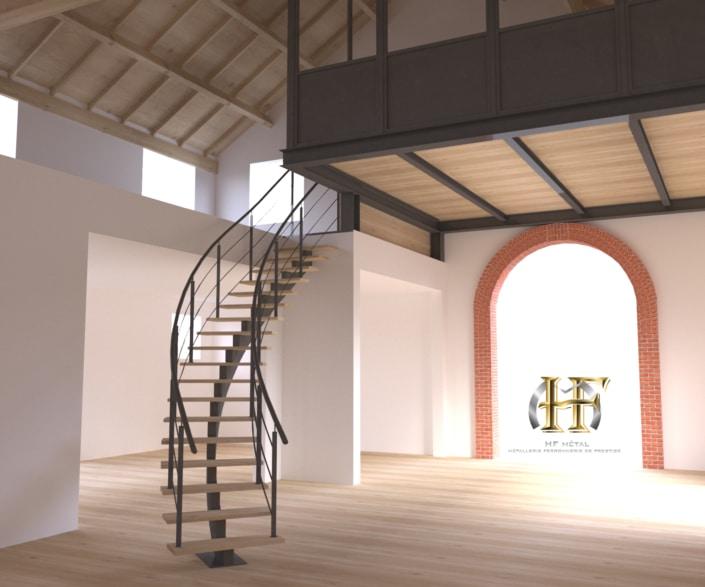 escalier en métal avec mezzanine en fer
