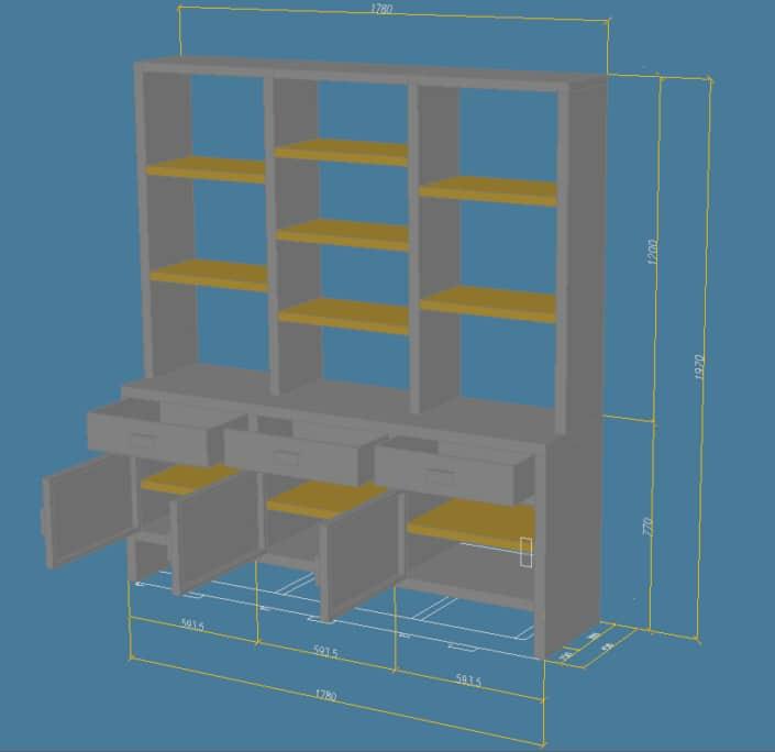 plan meuble de rangement en fer