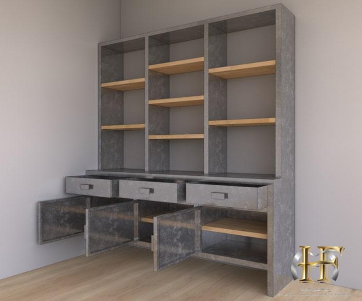 meuble de rangement en acier sur mesure