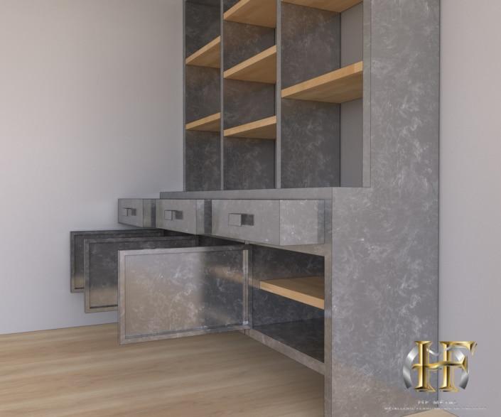 meuble de rangement métal et bois