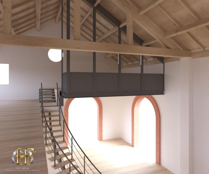 maison escalier en métal avec mezzanine en fer