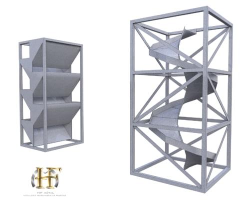 module escalier toboggan en métal