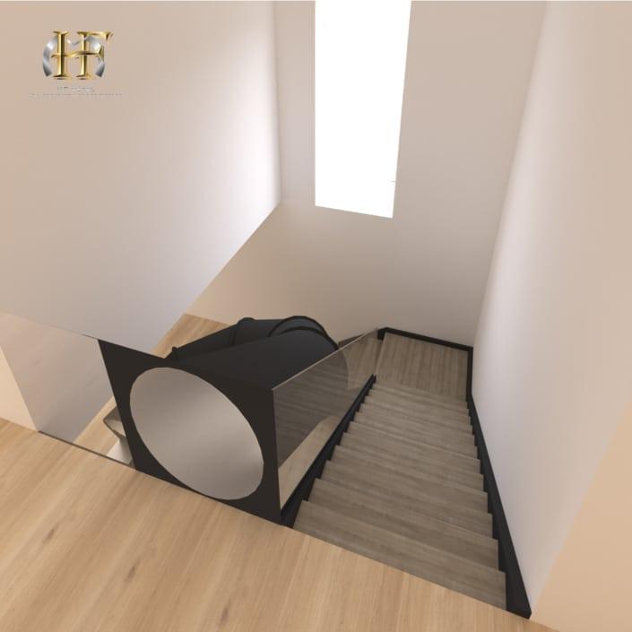 escalier quart tournant avec toboggan