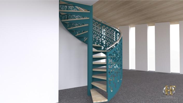 escalier hélicoïdale en fer bleu