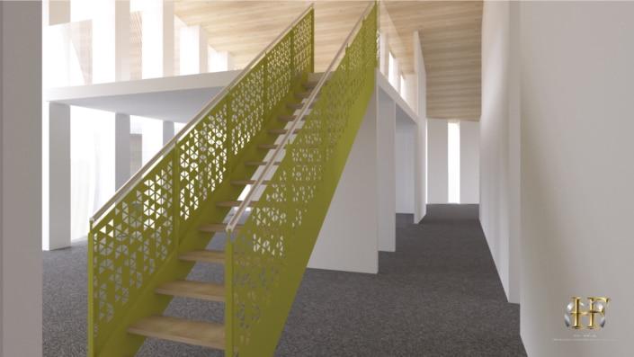 escalier droit en metal coloré jaune