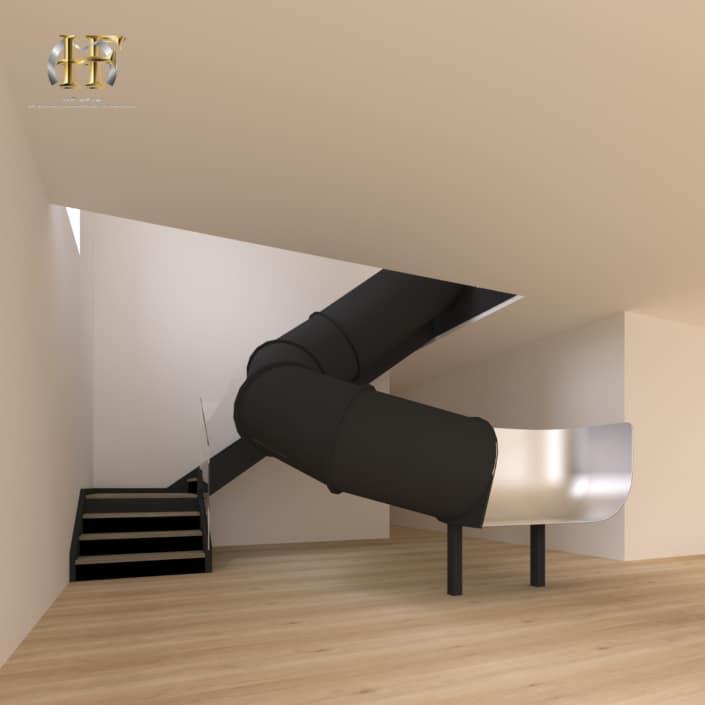 escalier toboggan noir