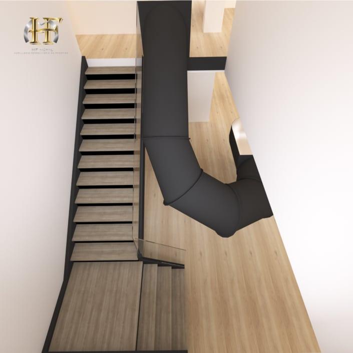 escalier quart tournant metal bois et toboggan