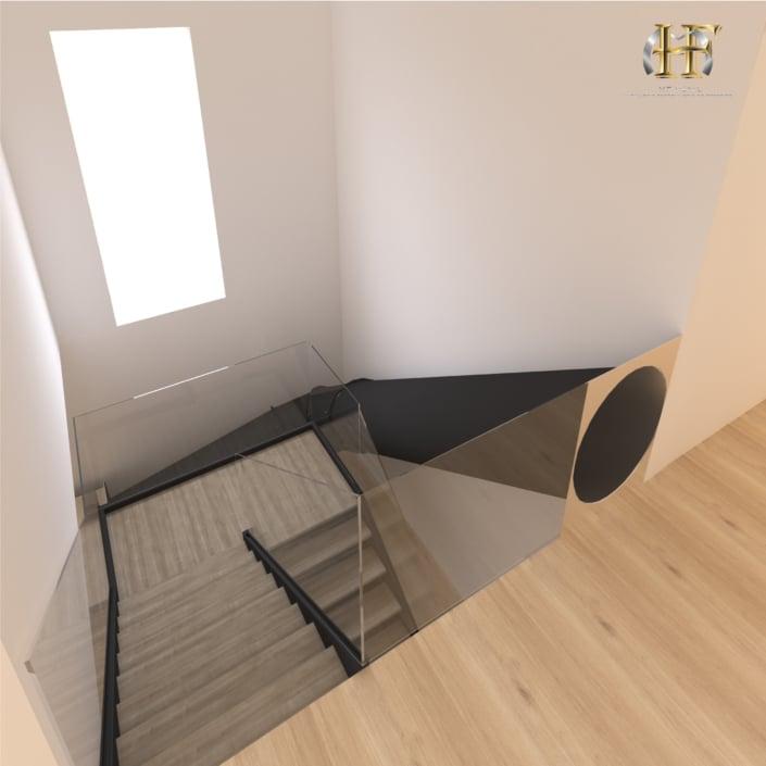 escalier double quart tournant metal bois et toboggan
