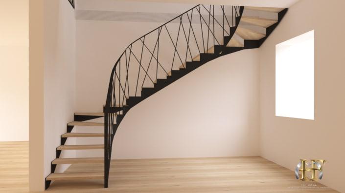 escalier limon en crémaillère marche en chêne massif et rampe debillardé