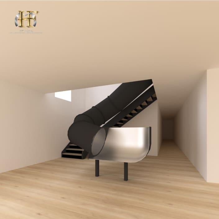 escalier avec toboggan metal