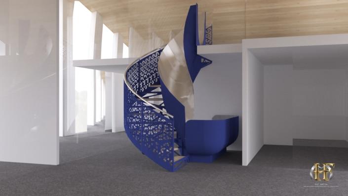 escalier colimacon metal bleu avec tobogan