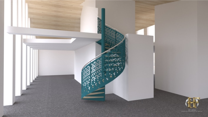 escalier colimacon en fer bleu